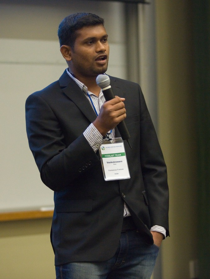 Venkateswara Rao of Damascus Fortune from India at 2013 Global Social Venture Competition, April 12, 2013