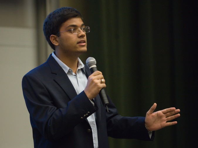 Vi-Care founder, from India, at Global Social Venture Competition, April 12, 2013. Photo by Kevin Warnock.