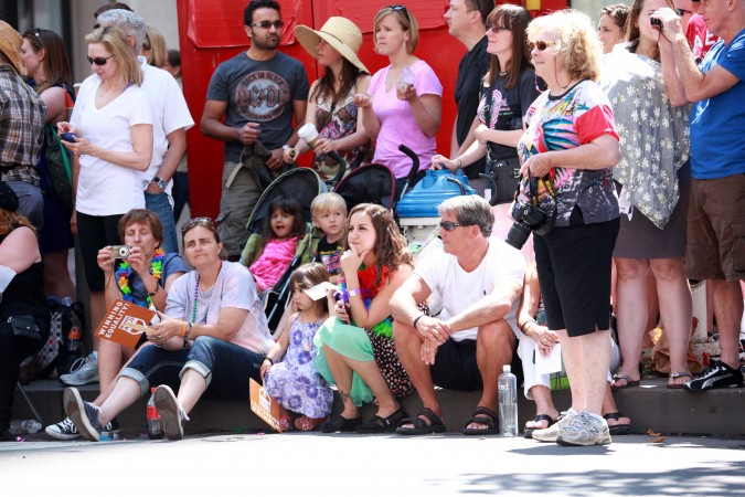 San Francisco Pride Parade and Celebration 2013 - picture 11, June 30, 2013, Families watching parade, Photo by Kevin Warnock