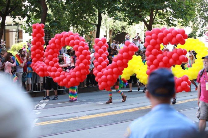 "San Francisco Pride Parade and Celebration 2013 - picture 2 - ""Love Won"" spelled with balloons"