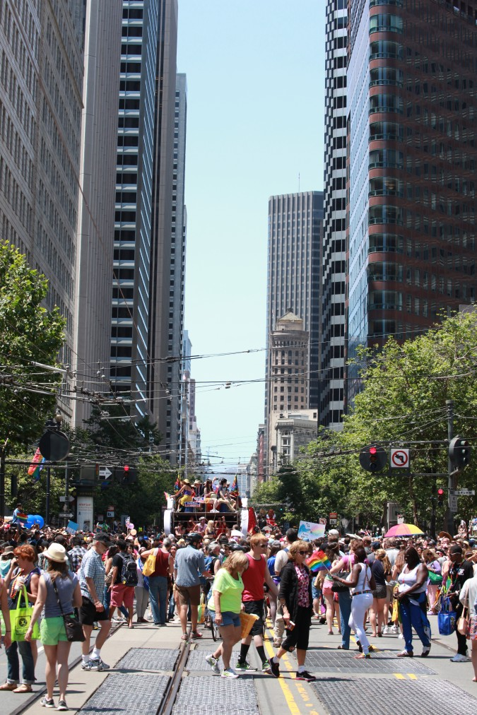 San Francisco Pride Parade and Celebration 2013 - picture 30, June 30, 2013, looking up Market Street during lull in the arrival of parade floats