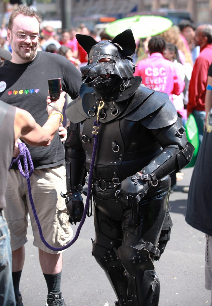 San Francisco Pride Parade and Celebration 2013 - picture 42, June 30, 2013. It was unusually warm in San Francisco this day, and this person must have been sweltering in their black outfit.