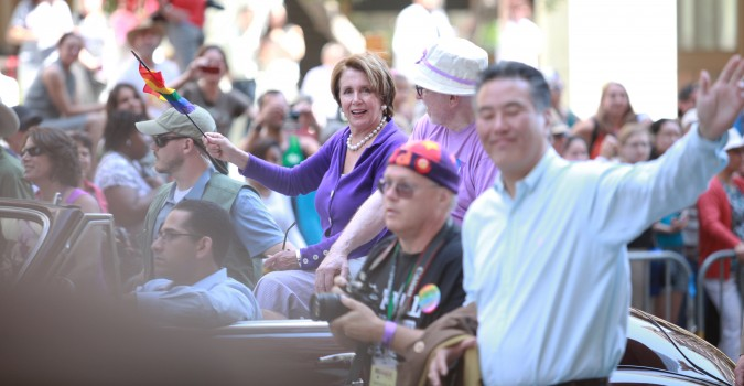 San Francisco Pride Parade and Celebration 2013 - picture 7 - with United States Senator from California, Nancy Pelosi, in purple dress