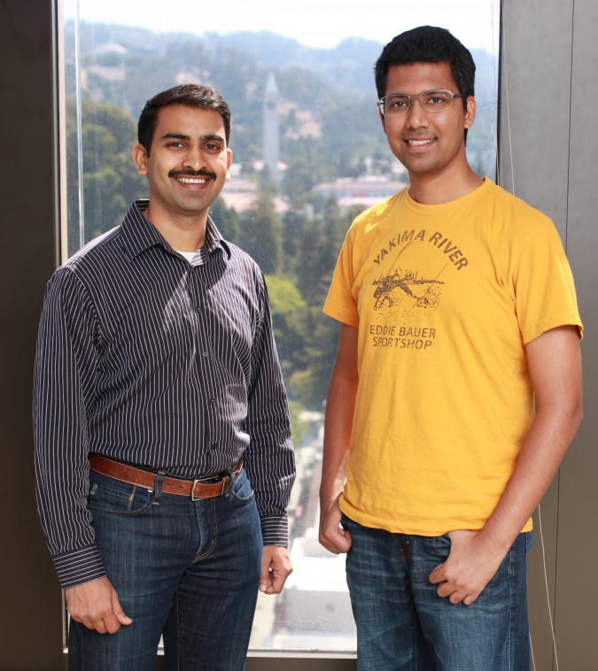 Cofounders of ShoppingPal.com - Sriram Subramanian, CEO, and Pulkit Singhal, CTO. July 26, 2013. Photograph taken at University of California Berkeley Skydeck accelerator, on the top floor of the tallest building in Berkeley, California. That clock tower in the background is on the UC Berkeley campus. Photo by Kevin Warnock.