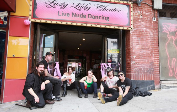 Bill Maffei, Damon Votour, Courtney Crimson, Sadie Massoch, Andi Baker and Tybalt on September 2, 2013 in front of the now closed Lusty Lady Theater at 1033 Kearny Street in San Francisco, California USA