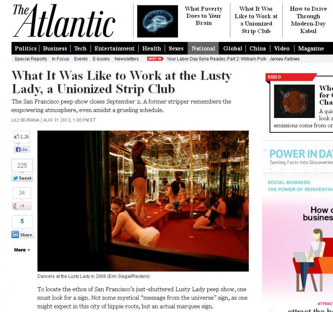 Screenshot from TheAtlantic.com showing article 'What it was like to work at the Lusty Lady, a unionized strip club.' Article written August 31, 2013. Screen capture September 2, 2013.